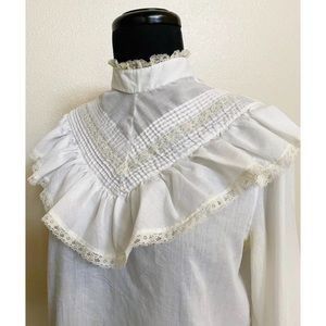 Vintage 70s Ruffle High Collar Lace Top